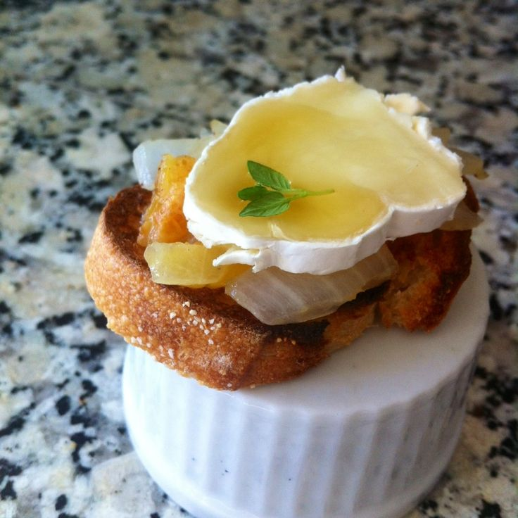 Apricot & Brie Crostini with Golden Honey - I wouldn't add the onions...