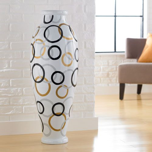 Modern circles large floor vase polivaz vases vases home decor for Modern home decor vases