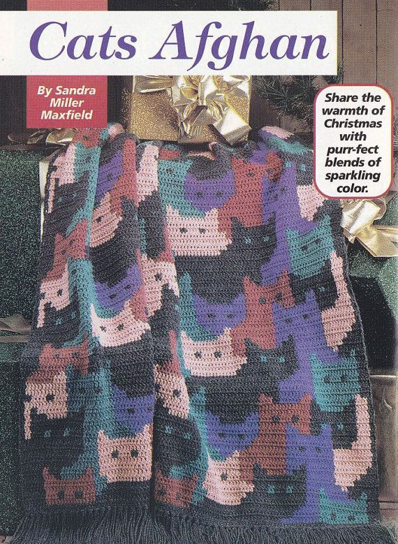 Crochet Cat Afghan Pattern : Cats Afghan Crochet Pattern - Christmas Back Issue Hooked ...