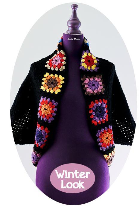 Crochet: Granny Square Shrug More DIY Stuff Pinterest