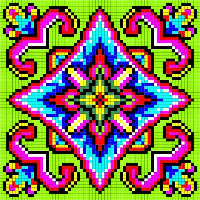 Схемы для вышивки крестом для подушек 40x40 орнаменты 71