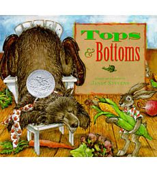 Interactive Read Aloud:  Tops and Bottoms by Janet Stevens is a fictional children's book. The genre is fables, folk tales and myths. The theme pertains to conflict resolution. This book is at a third grade reading level.