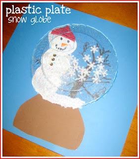 Plastic Plate Snowman Snow Globe