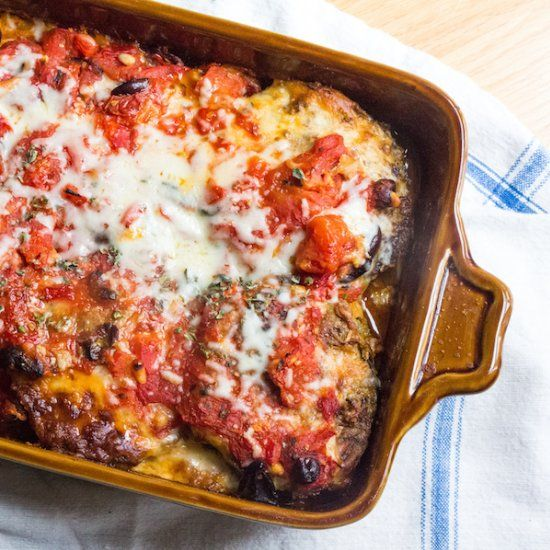 Parmesan Casserole- eggplant slices layered with tomato sauce lasagna ...
