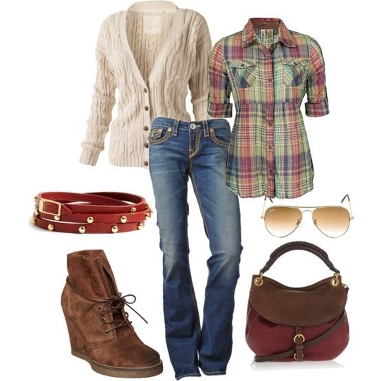 "Pair some bootcut jeans with a plaid button-down, cream ""chunky"" cardigan sweater, red belt, and cute wedge ankle boots. Aviators and brown handbag round out the cute outfit. polyvore outfits for fall"