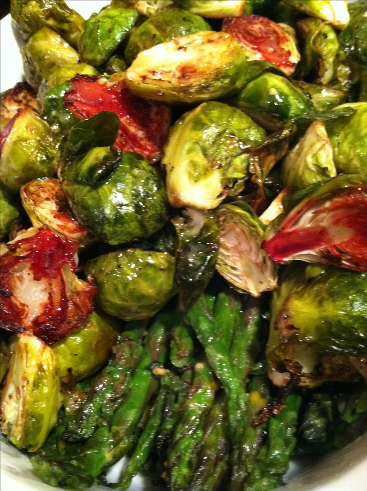 Roasted asparagus and Brussels sprouts with maple mustard dressing ...