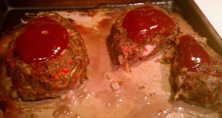 Mini loaded veggie meatloaves! 1# hamburger, 1 large carrot-shredded ...
