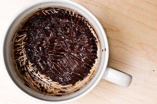 This is dangerously easy.  Mug brownie. 4 TBS flour, 4 TBS sugar, 2 TBS cocoa powder 2 TBS veggie oil 2 TBS water, dash of salt. nuke 1 min.