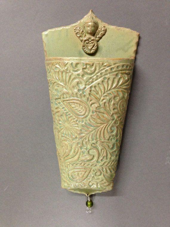 Handmade Ceramic stoneware wall pocket by HandandWheelPottery, etsy
