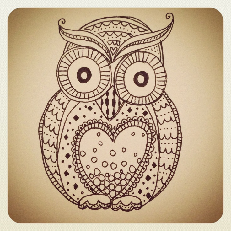 Doodle Owl Owls A Lot Of Owls Pinterest