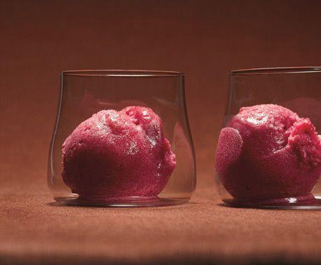 Cranberry and Vanilla Bean Sorbet, add vanilla vodka for texture