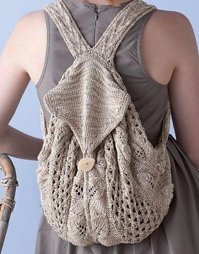 Knitting Pattern For Book Bag : crochet knitted backpack by Boho Crochet Pinterest