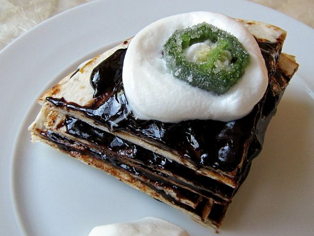 Layered Tortilla Dessert with Candied Jalapeños
