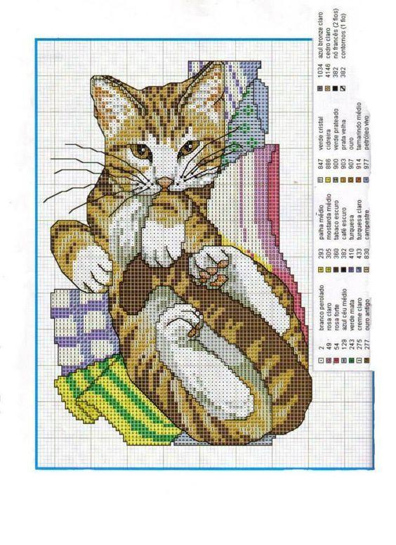 Вышивка крестом схемы кошки коты 46