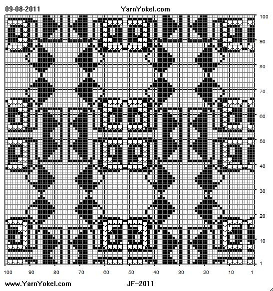 Filet crochet chart from Doodle collection. YarnYokel.com