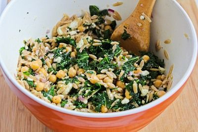 Whole Wheat Orzo Salad with Kale, Chickpeas, Lemon, and Feta... looks ...