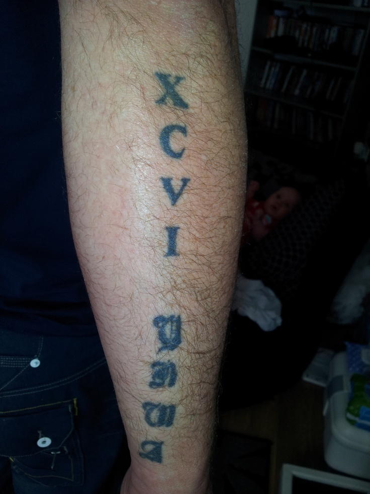 My Tattoo for the 96 Angels says 96 in Roman Numerals with YNWA i ...