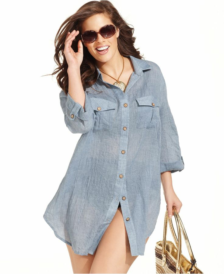 Dotti plus size cover up 3 4 sleeve shirt dress for Beach shirt cover up