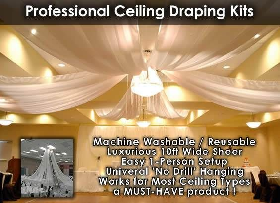 Ceiling draping kits prom ideas pinterest for Decor direct