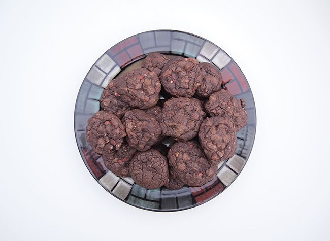 Double Chocolate-Peppermint Crunch Cookies Recipe — Dishmaps