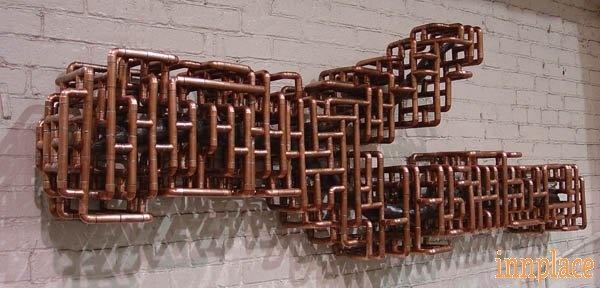 Copper Tube Sculpture By Tj Volonis Sculpture