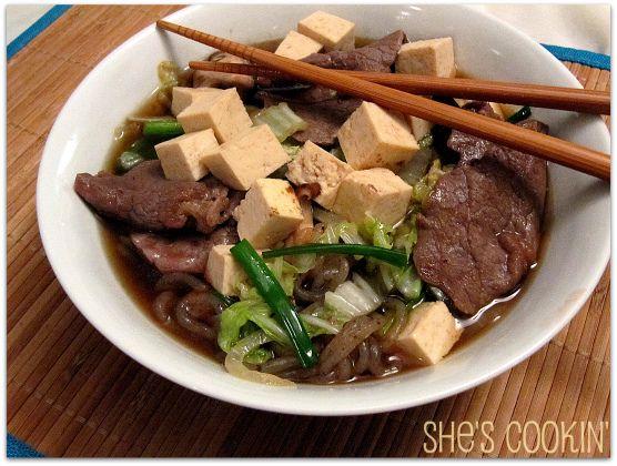 Sukiyaki with Shirataki Noodles and Tofu | Asian Food & Recipes | Pin ...