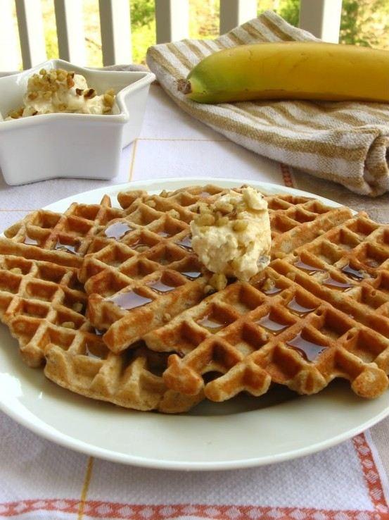 Banana nut waffles with maple nut cream cheese spread