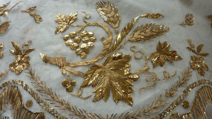 Antique french religious embroidered tulle gold thread