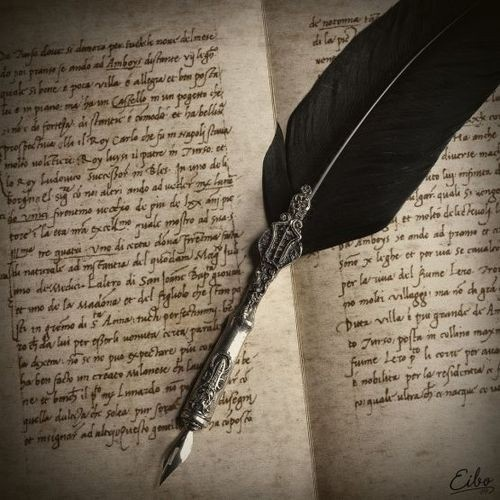 Antique quill pen and calligraphy writing