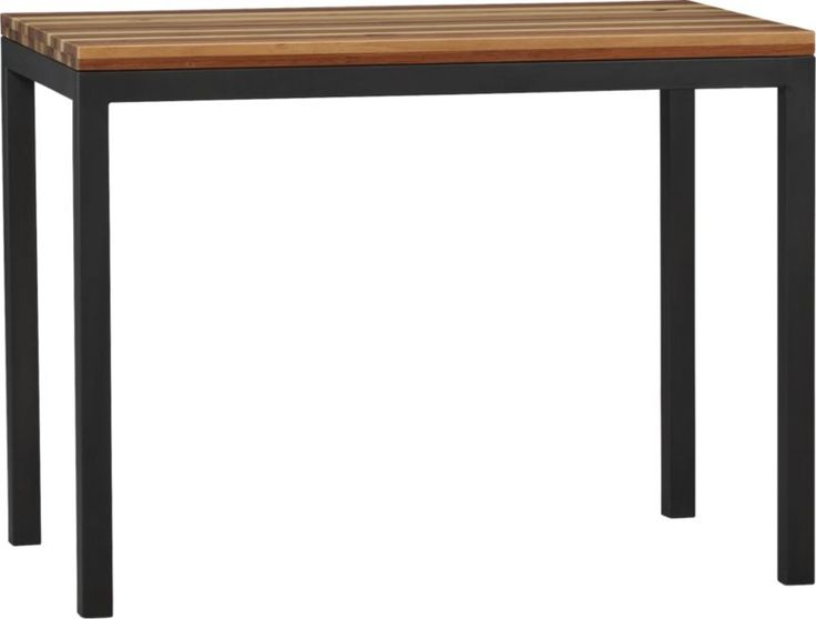 Reclaimed Wood Top Natural Dark Steel Base 48x28 Parsons High Dining