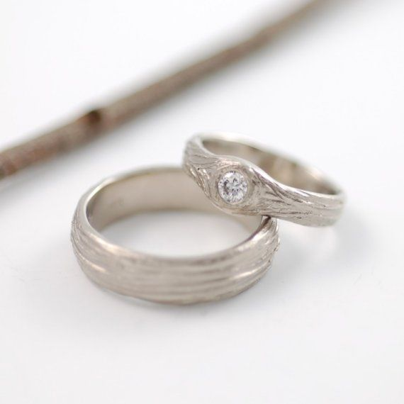 palladium white gold tree bark love knot engagement ring with 4mm