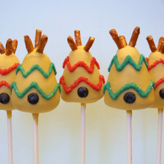 12 Teepee Cake Pops for Cowboys & Indians Wild by SweetWhimsyShop