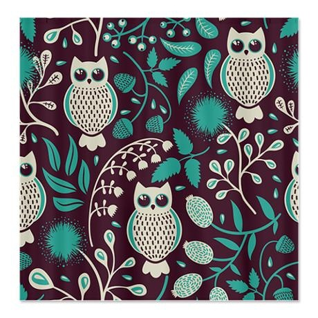 owls pattern shower curtain on