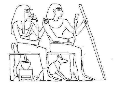 copy of A limestone stele dating 1900 BC with a Basenji Type dog sitting under the chair.
