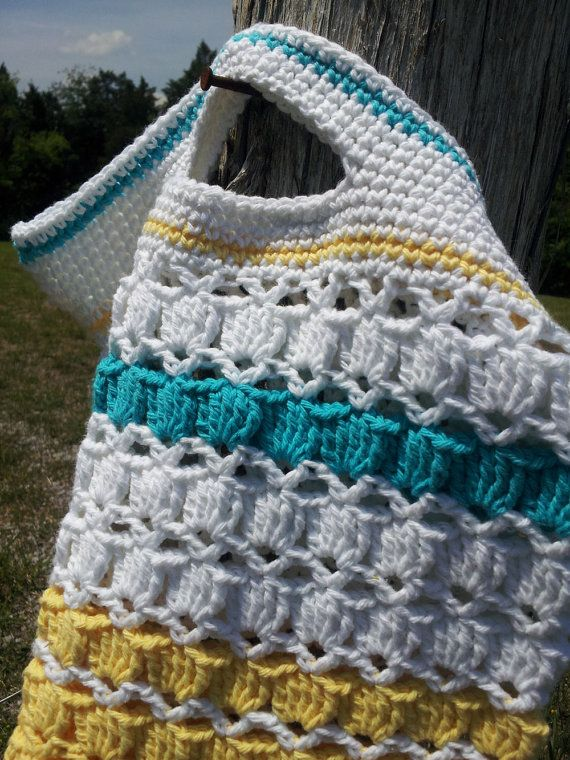 Free Crochet Pattern Beach Bag : READY NOW-Crochet Beach Bag-Yellow, Turquoise and White ...