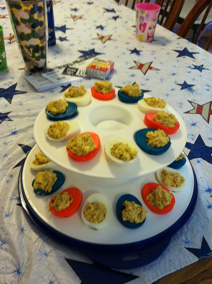 Red, White, an Blue old bay deviled eggs | What I've tried | Pinterest
