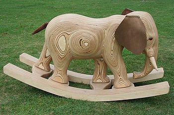 handmade rocking elephant by James Harvey--certain to become a family heirloom