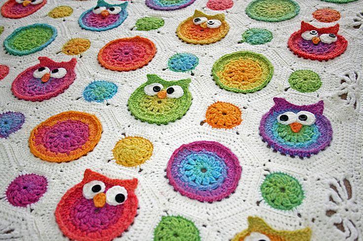 Free Crochet Pattern Owl Baby Blanket : Ravelry: shazzeths Owls Blanket