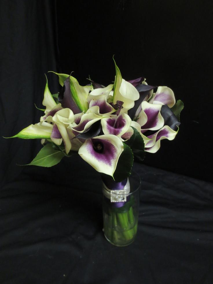Mini Callas Purple And Eggplant Wedding Flowers Pinterest