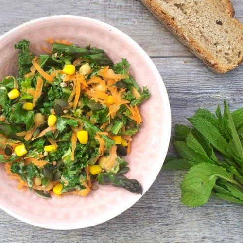 Asparagus, Kale Salad With Tahini HealthyAperture.com
