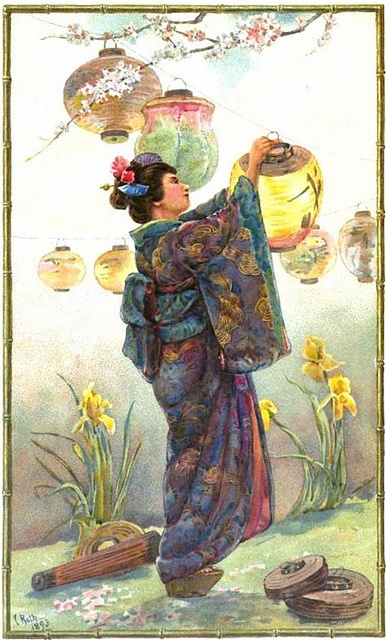 A deeply lovely image from 1894 of a woman hanging Japanese lanterns in a garden. 1800s