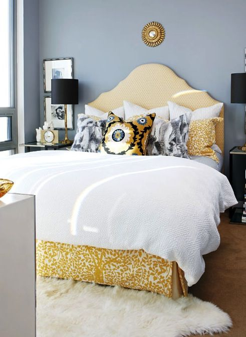 Bedroom Grey Blue And Yellow Apt Decor Pinterest