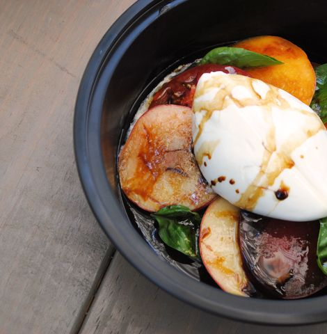 Tomato, peach, and burrata, with balsamic...must try