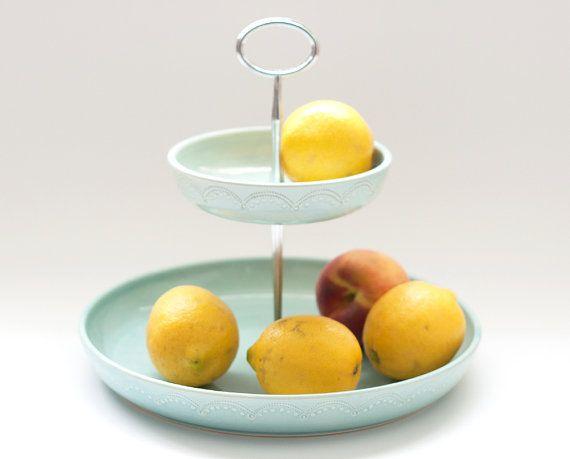 Fruit basket 2 tiered fruit bowl aqua - Tiered fruit bowl ...