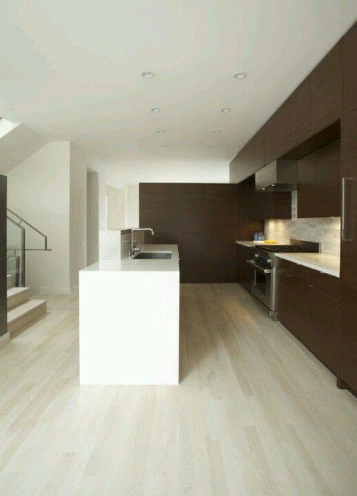 Bleached wood floor w/ dark cabinets | Kitchen | Pinterest