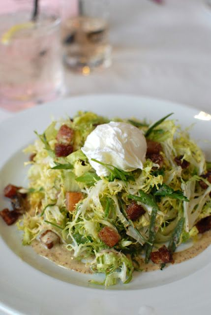 Frisee Salad with a poached egg, lardons and mustard vinaigrette ...