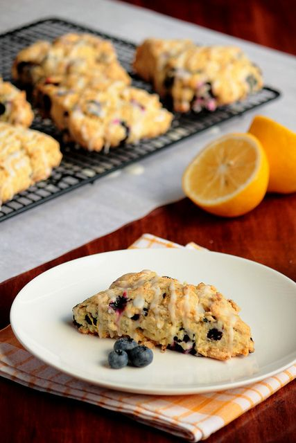 Made these lemon blueberry scones this morning! Pretty good, except I ...
