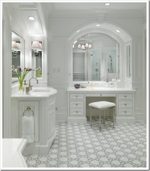 Elegant white master bathroom bath design pinterest for Master bathroom white