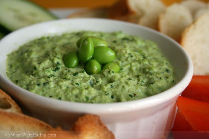 Edamame, Herb Chevre, and Roasted Garlic Dip... Must try this, it ...