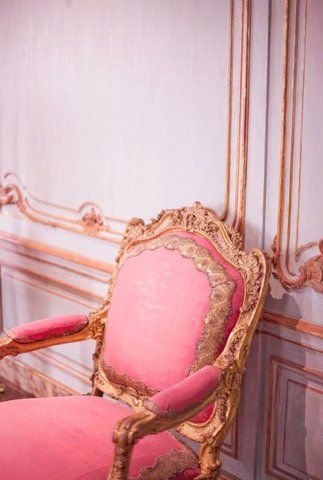 The grandeur of older times: loving this pink and gold trim chair